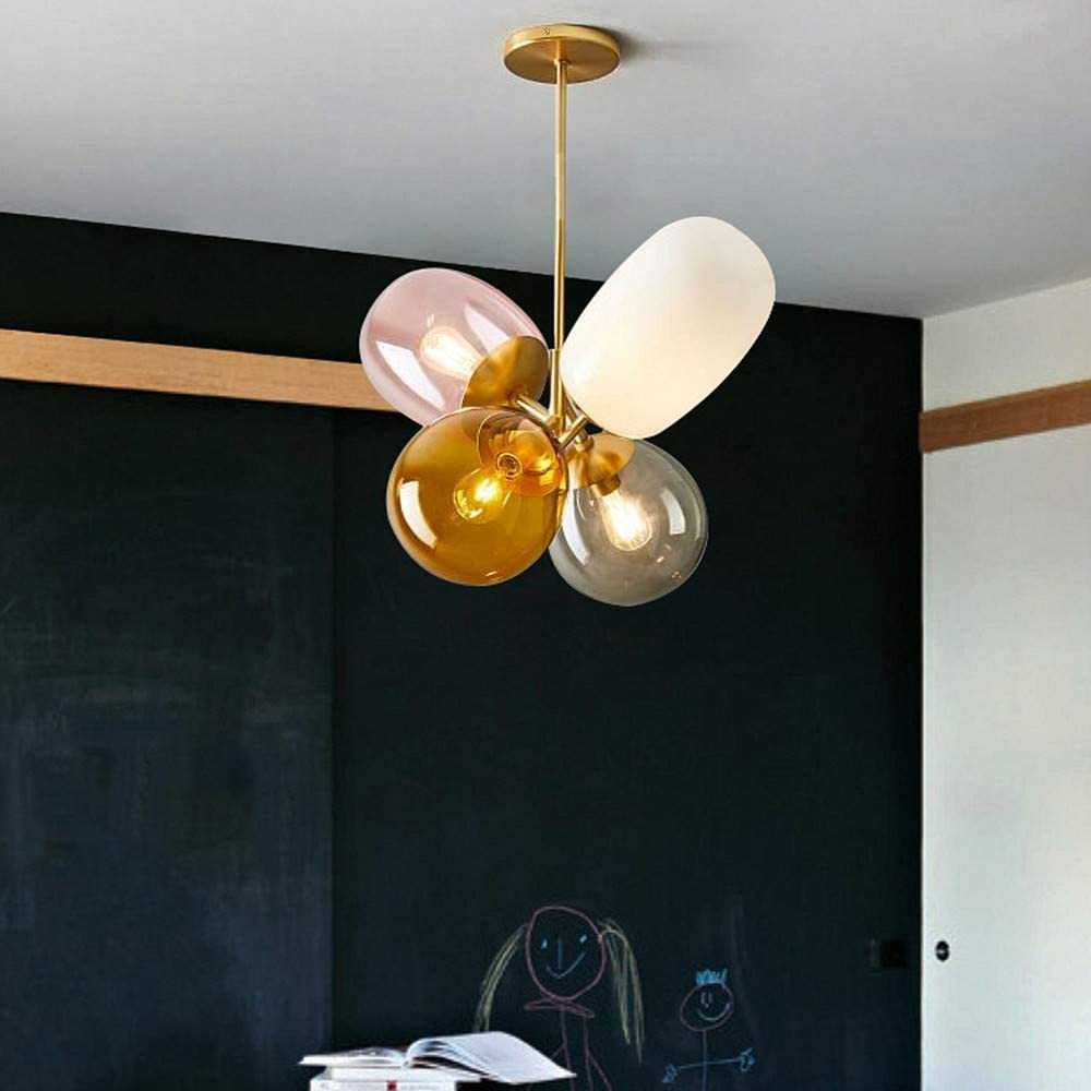 LAKIQ Modern Colorful Chandelier Light Fixture Glass Balloon Shape ...