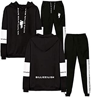 Flyself Unisex Billie Eilish 2 Pieces Plus Size Tracksuit Sets Long Sleeve Hoodie Pullover Sweater and Long Pants Set Jogg...