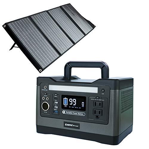 GOODGOODS ポータブル電源 500W ソーラーパネル セット 折り畳み 家庭用蓄電池 太陽光発電セット 車中泊 防災グッズ アウトドア SET-14520A