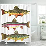 Semtomn Shower Curtain Fish Trout for Fly Fishing Fishermen and Fisherman...