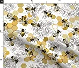 Spoonflower Fabric - Honey Bees Endangered Species Animals Bee Flowers Honeycomb White Printed on Minky Fabric by The Yard - Sewing Baby Blankets Quilt Backing Plush Toys