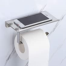 Ralos Stainless Steel Toilet Paper Holder, 2 in 1 Multi-Function Bathroom Roll Holder Stand with Shelf Wall Mounted for Mobile Phone Wet Wipes Sanitizer Glasses