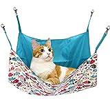 猫 ハンモック Blueekin ネコ ハンモック ペット ベッド 通気性抜群 遊び場 昼寝 日向ぼっこ 夏冬両用 耐荷重10KG 大型 65cm x 65cm (ブルー)