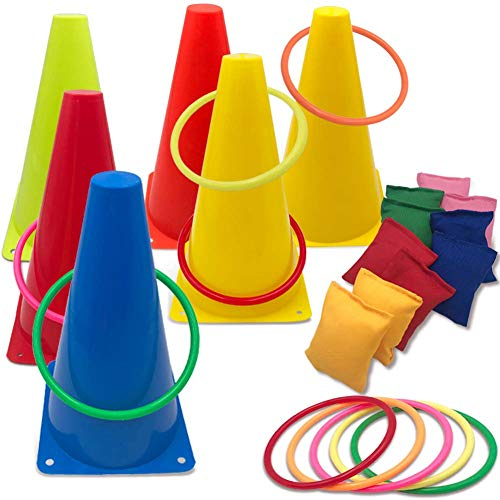 Hooqict 3 in 1 Carnival Games Set, Soft Plastic Cones Set Bean Bag Ring Toss Games for Kids Birthday Carnival Party Outdoor Games Supplies