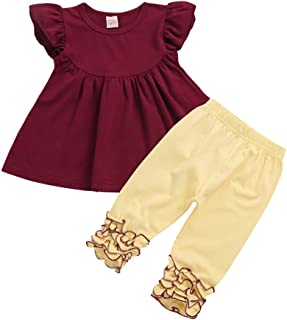 dc73901706da8 Lavany Baby Girls Clothes Set Ruffle T Shirt Short Sleeve Tops+Lace Pants  Outfits