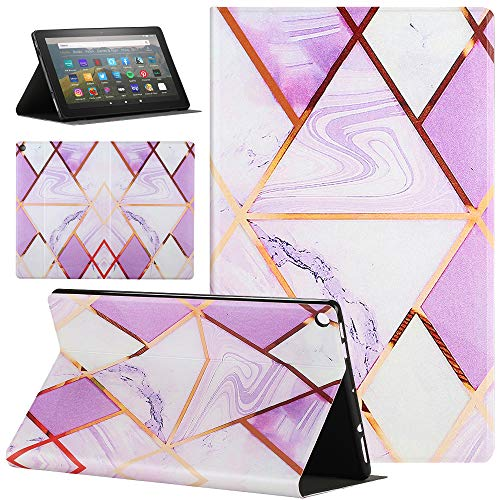 Amazon Fire HD 10 Tablet Case, Pudazvi Premium PU Leather Slim Fit Stand Cover with Auto Wake/Sleep Case for All-New Fire HD 10.1 inch Tablet (9th 7th 5th Gen, 2019 2017 2015 Release)Marble purple 01