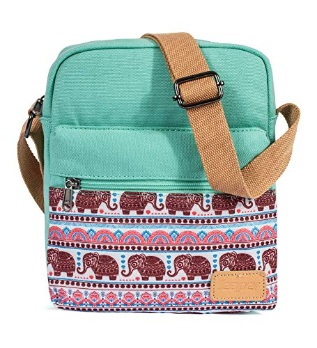 Conjunto de bolsa tiracolo e bolsa pequena Leaper para meninas e mulheres, Teal-elephants, Medium