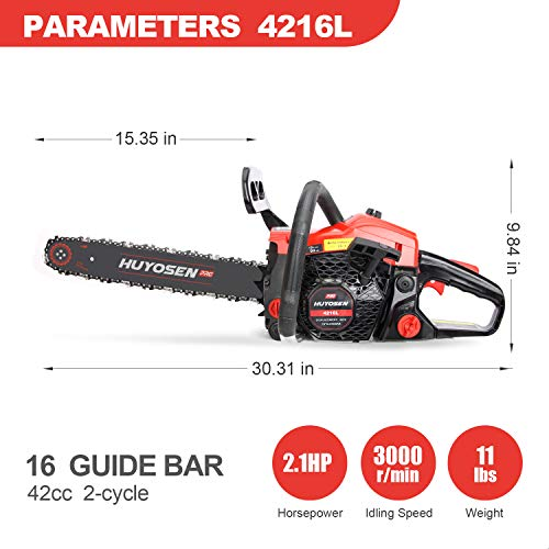HUYOSEN 42cc Gas Chainsaws 2-cycle Gas Powered Chainsaw, 16-Inch Chainsaw, Cordless Handheld Gasoline Power Chain Saws for Cutting Trees, Wood, Garden and Farm(4216L)