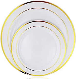 Stately Elegance Designs 200 Piece White and Gold Rimmed Plastic Plate Set – Includes 100 10.25