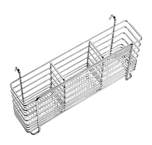 Stainless Steel Large Rotating Utensil Holder with Removable Divider, 360°...