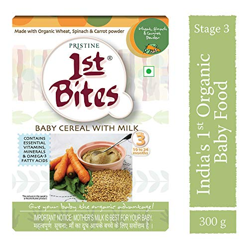 PRISTINE 1st Bites Baby Cereal with Milk (Wheat :: Spinach :: Carrot Powder, 10-24 Months)