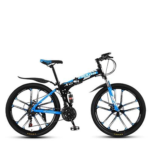DGAGD Bicicleta de montaña de Velocidad Plegable de 24 Pulgadas Bicicleta de Diez Ruedas Masculina y Femenina-Azul Negro_30 velocidades