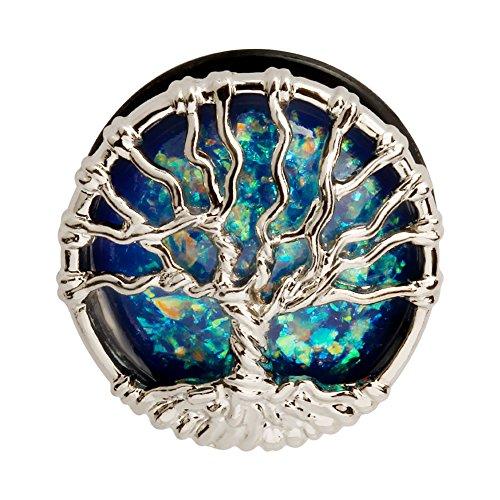 KUBOOZ Blue Planet Silvery Tree Ear Plugs Tunnels Gauges Stretcher Piercings Jewelry