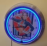 Neon reloj–Pinup Martini Racing–Iluminación Neon Azul–También Disponible en otros colores Neon...