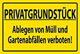 FS Warnschild Privatgrundstück Müll Blechschild Schild gewölbt Metal Sign 20 x 30 cm