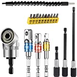 Flexible Drill Bit Extension Set, Includes 105° Right Angle Drill, Bendable Drill Bit Extension, 3pcs 1/4 3/8 1/2' Universal Socket Adapter Set, 3pcs Drill Bit Holder, Screwdriver Bit Kit