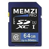 MEMZI Pro 64 Go 80 Mo/s Classe 10 Carte Mémoire SDXC pour Sony Alpha a7, a7R, a7S,...