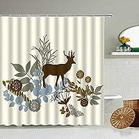 DFKJ シャワーカーテン 抽象エルクプリントシャワーカーテン植物葉の花手描きアートバスルームの壁の装飾フック付き防水スクリーン