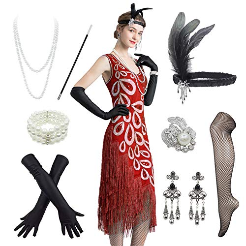 Women's Vintage 1920s Style Peacock Sequin Roaring 20s Gatsby Party Flapper Dress W/ 20s Accessories Set (10, Red)