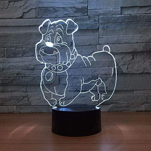 Luz de noche 3D Luz de noche para niños Madre s Abuela Perro lindo Multicolor W Bombilla Decoración Decoración Familia Amigos Niños Navidad Led Touch Cumpleaños Ilusión Decoración de dormitorio A