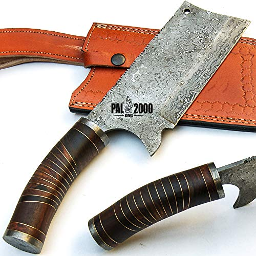PAL 2000 KNIVES SBGS-9439 Custom Handmade Damascus Steel Blade Hunting Cleaver Knife 14 Inches Rose Wood Handle Raindrop Pattern with Sheath