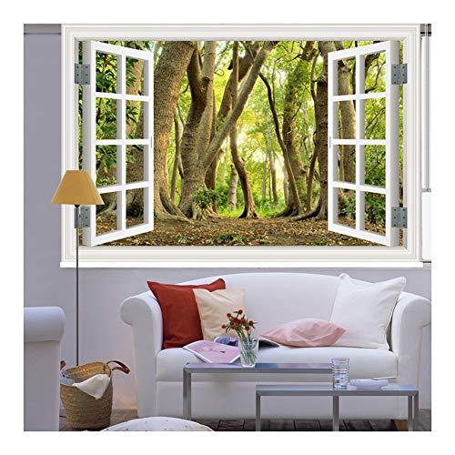Estor Enrollable Persianas para Ventana 3D Bosque Estampado Protección UV Impermeable para Casa Oficina Patio Poliéster Fácil De Instalar,44 Tamaños Gdming (Color : A, Size : 135x128cm)