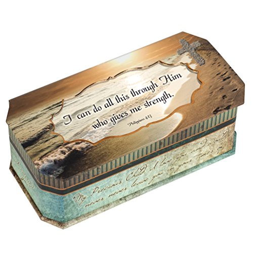 Price comparison product image Cottage Garden I Can Do All This Through Him Who Gives Me Strength Footprints in The Sand Design Jewelry Music Box - Plays Song Amazing Grace