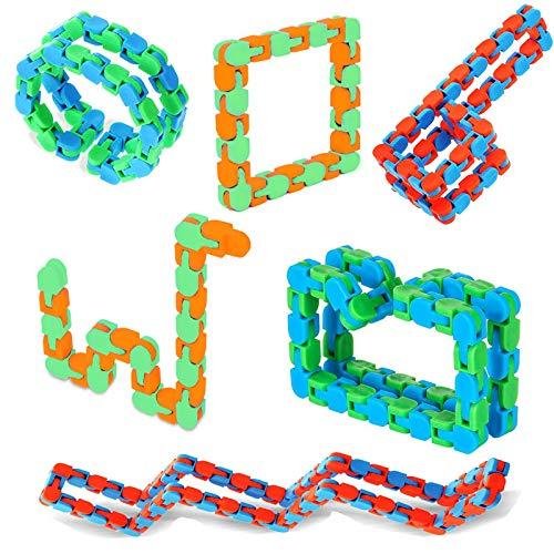 Xruison Wacky Tracks Juguete Fidget a Presión y Clic Juguete Sensoriales Antiestrés Cadena Fidget Rompecabezas Juguetes Educativos para Niños, Adultos 48 Enlaces 6 Pieza
