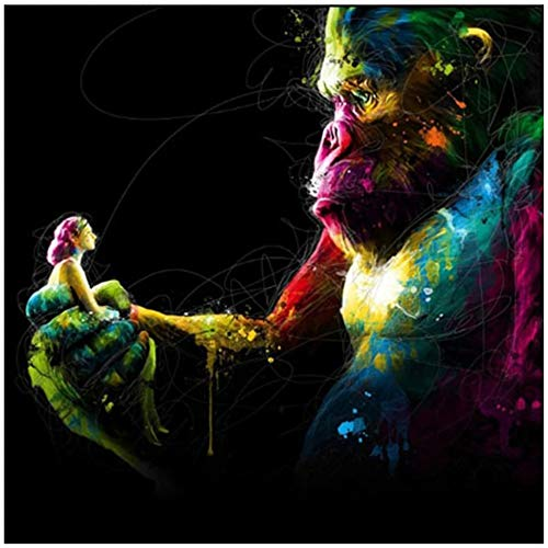 Keliour Wall Art Picture Canvas Painting Monkey Gorilla Animal Graffit Abstract Poster for Living Room Modern Home Decor 40x40 cm/15.7' x 15.7' No Frame-2
