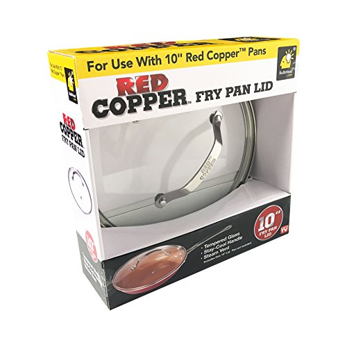 """BulbHead Red Copper 10"""" Round Lid, Vented Tempered Glass, 10 Inch, Clear"""