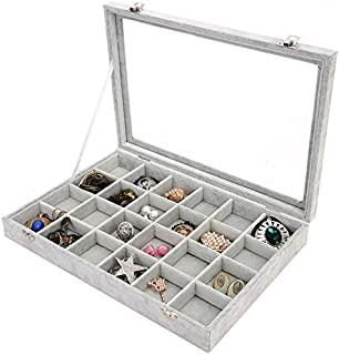 PENGKE 24 Grid Velvet Jewelry Organiser Ring Display Box and Earrings Tray Holder Storage Case,Gray Pack of 1