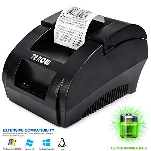 TEROW ZJ - 5890K Impresora de Recibos térmica USB de 58 mm Velocidad 90 mm/s,ESC/POS,Mini Impresora portátil de Etiquetas,Conpartible con Win XP/Vista/Win 7/Win 8,Linux