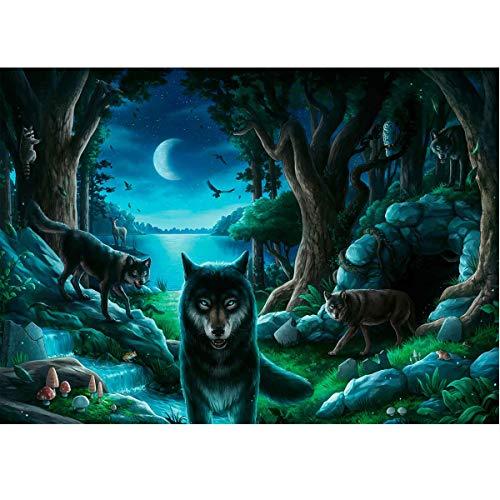 MXJSUA DIY 5D Full Square Diamond Painting Kits Bohrer Bild Kunsthandwerk für Home Wall Decor 30x40cm Wolves Forest