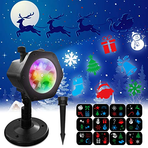 Christmas Projector Lights, ZHUPIG 2-in-1 Adjustable LED Christmas Lights Projector Outdoor Indoor Decoration light with 12 Slides Patterns, IP65 Waterproof for Home, Party, Garden, Landscape, Holiday