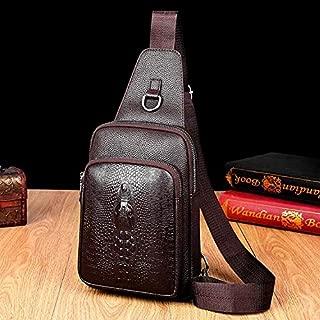Fashion Single-Shoulder Bags Embossed PU Leather Business Single Shoulder Bag Men Chest Bag (Black) (Color : Brown)