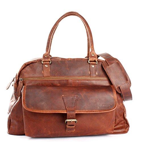 LECONI kleine Reisetasche Ledertasche Weekender Handgepäck Frauen Männer Sporttasche Damen & Herren Leder 47x30x26cm braun LE2023-wax