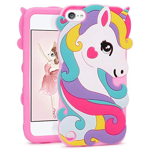FunTeens Vivid Unicorn Case for iPod Touch 6th 5th Generation 3D Cartoon Animal Cute Soft Silicone Rubber Protective Cover,Animated Stylish Cool Skin Shell for Kids Child Teens Girl(iPod Touch 6/5th)