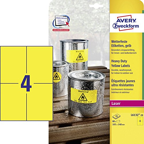 Price comparison product image Avery Zweckform L6132 20 Outdoor Weatherproof Film Labels (80 Labels 105 x 148 mm x 20 Sheets,  Yellow