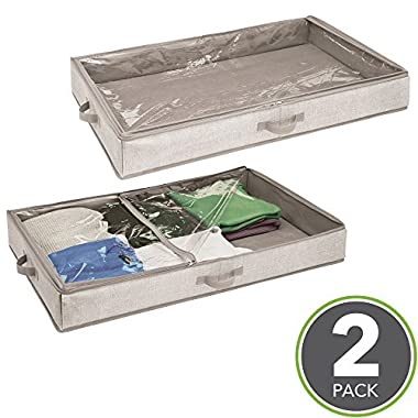 mDesign Under Bed Storage Drawer Organizer for Clothing, Blankets or Shoes - Pack of 2, Linen