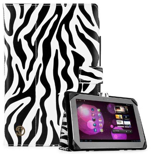 SOHO Portfolio Stand Nylon Detachable Flip Cover Case Black & White Zebra for Asus Transformer Pad 10.1 Tablets TF300TL, TF300T, TF700T, TF101