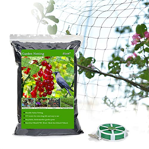 Eluck Bird Netting, 6.9 X 98 Ft, 3/4' Square Mesh Size, Protect Plants and Fruit Trees, Extra Strong Garden Net, Anti Bird Deer Protection Net, Doesn't Tangle and Reusable