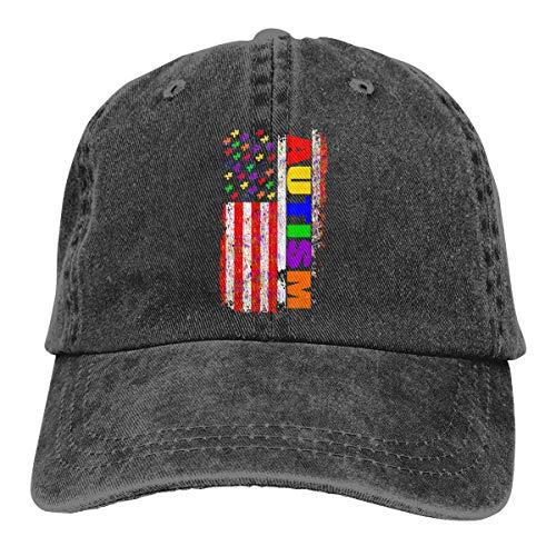 Voxpkrs Fernlastfahrer-Kappen-Autismus-Amerika-Flaggen-dauerhafte Baseballmütze-Hüte Justierbares Vati-Hut-Schwarzes Schönes 23440