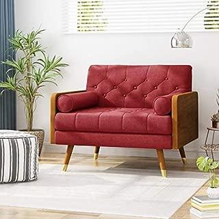 Christopher Knight Home Greta Mid Century Modern Fabric Club Chair, Red, Dark Walnut
