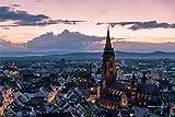 Freiburg City Skyline Art XXL Wandbild Kunstdruck Foto