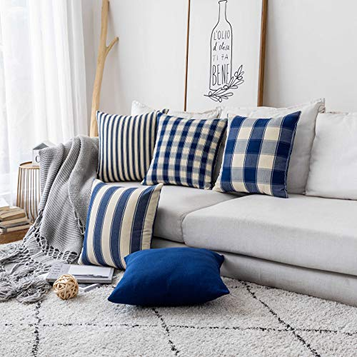 Home Brilliant Decor Throw Pillow Cover Decorative Accent Striped Checker Plaid Farmhouse Design Square Cushion Cover for Bench, Set of 5, 18 x 18 inch (45cm), Dark Royal Blue and Beige