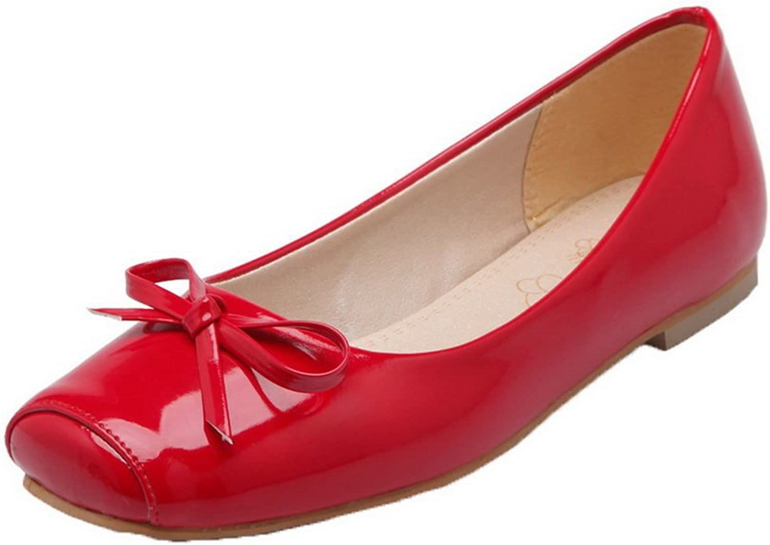 WeiPoot Women's Closed-Toe Pull-On Patent Leather Solid Low-Heels Pumps-shoes