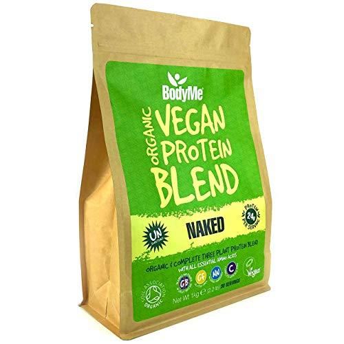 BodyMe Mélange Poudre Proteine Vegan Bio   Naked Naturel   1kg   NON SUCRE   Faible Glucide   Sans Gluten   3 Proteines Vegetales   24g Protéine Vegan Biologique Complète   Acides Aminés Essentiel
