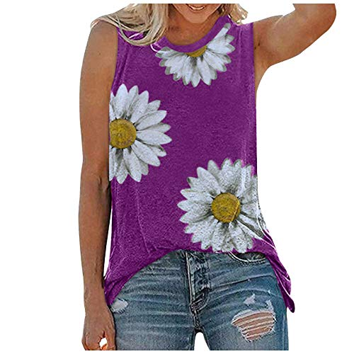 mjhGcfj Plus Size Tank Tops Graphic Tanks for Women Summer Sleeveless Shirt Loose Fit Sunflower Printing Workout Casual Hot Pink