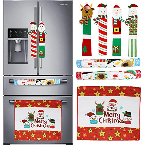 7 Pieces Christmas Kitchen Appliance Handle Covers for Kitchen Refrigerator Microwave Oven Dishwasher Decoration, Xmas Indoor Décor, Party Favor Supplies