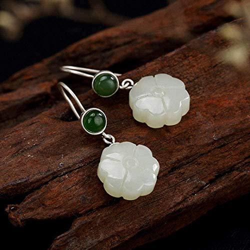 Pendientes de botón de jade S925 Incrustaciones de plata esterlina Hetian Pendientes de jade blanco Joyería de mujer Largo 3CM